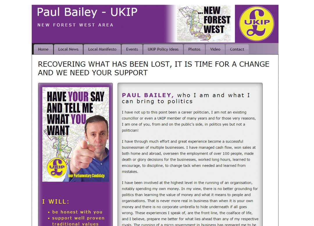 Paul Bailey – New Forest West UKIP Candidate