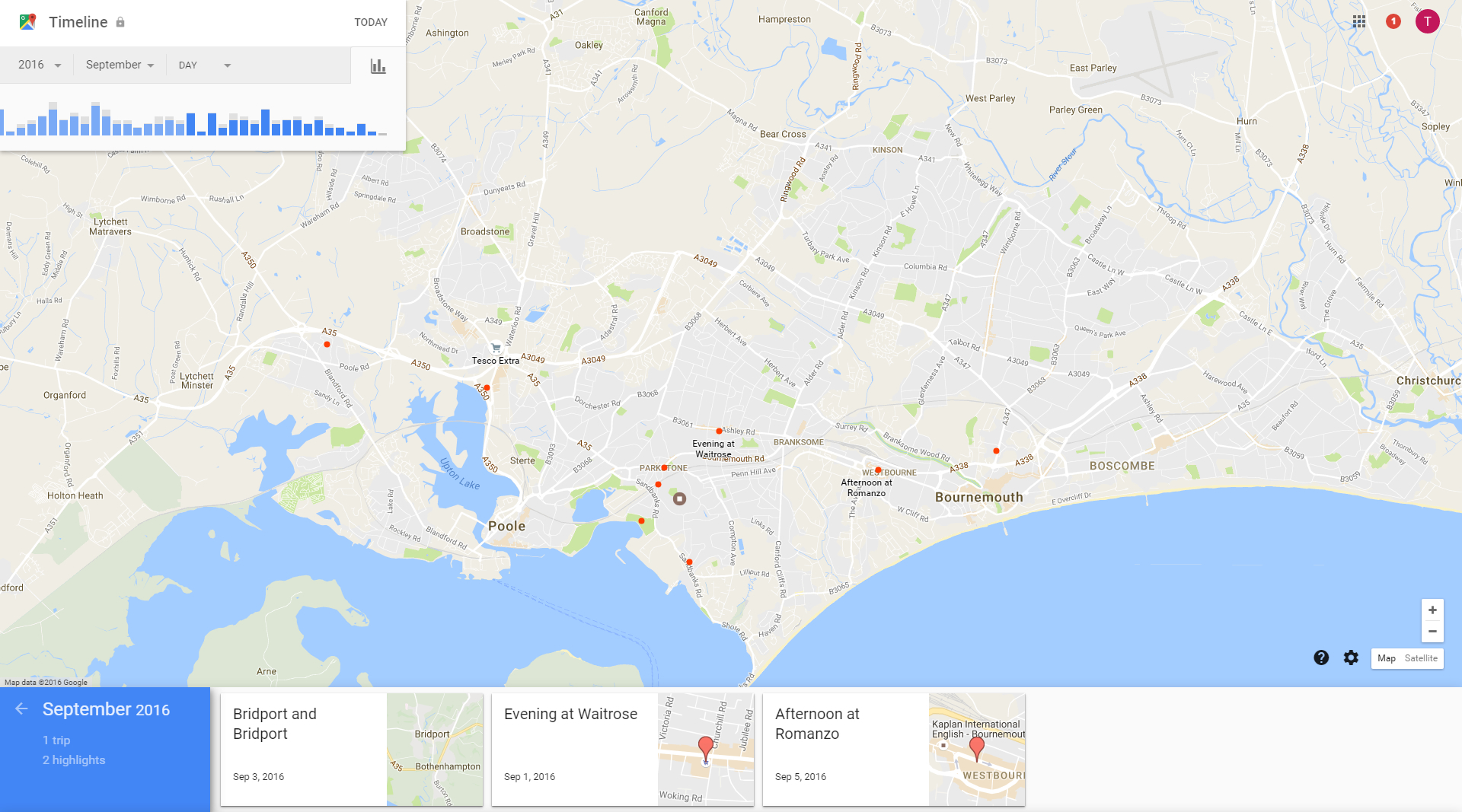 Example of Google maps showing where you've been