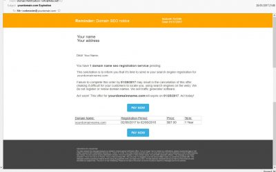 .com Domain Name Expiration Scam Email