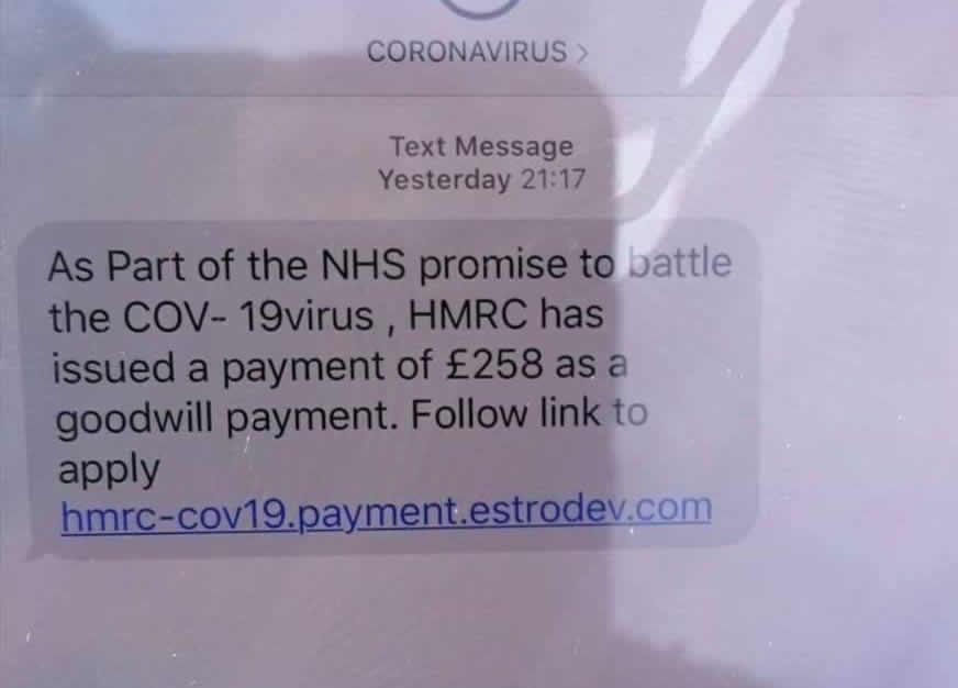 Coronavirus HMRC text scam.