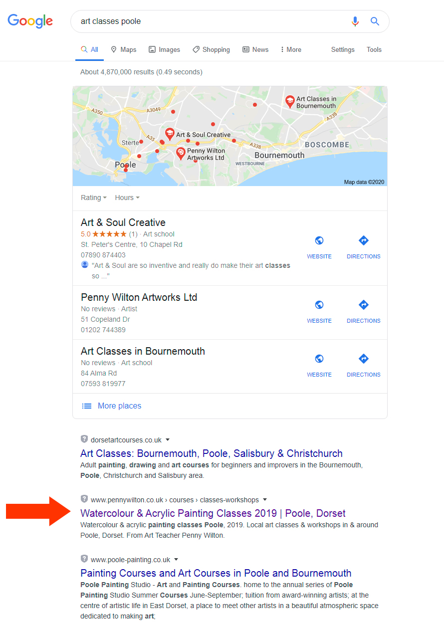 Google SEO results for art classes poole.