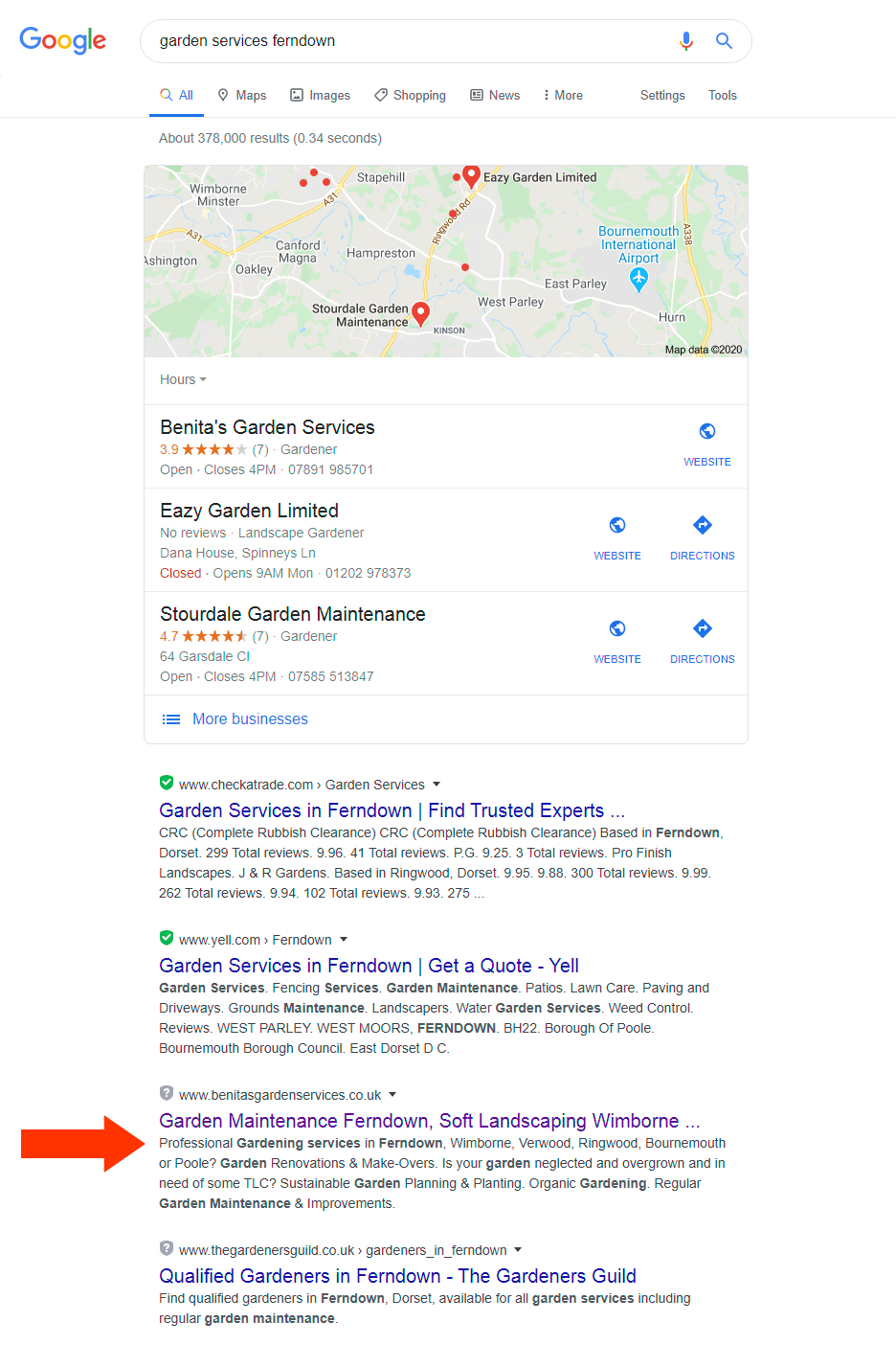 Google SEO results for garden services ferndown.