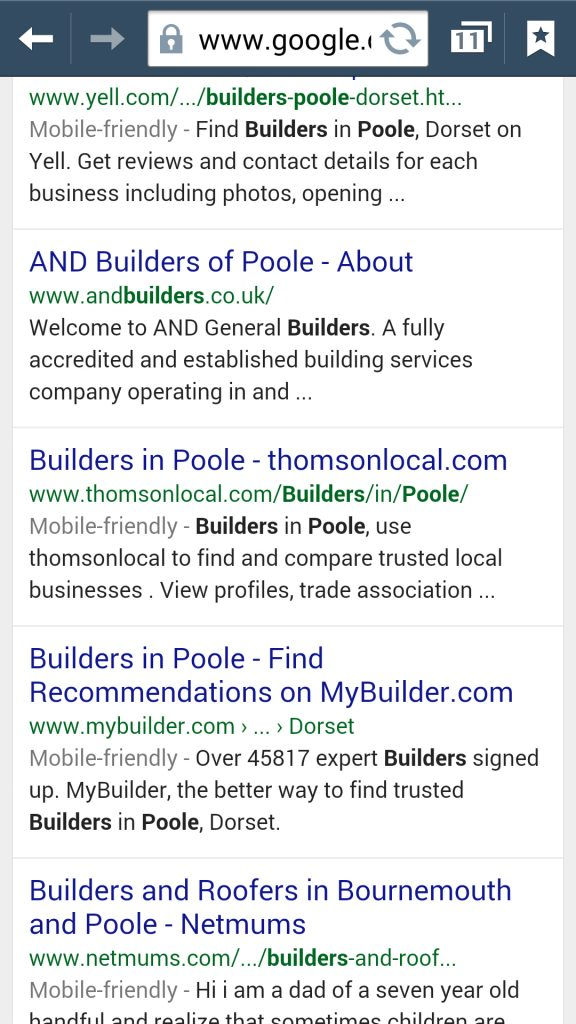 "Google tells you which websites are ""Mobile Friendly""."