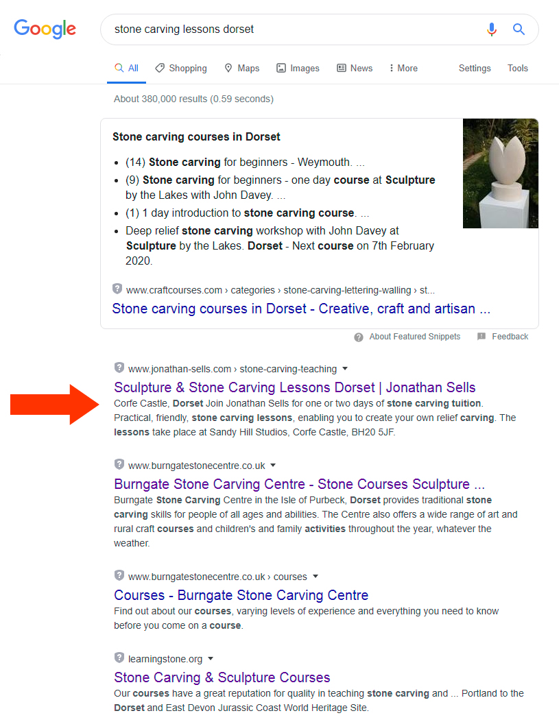 Google SEO results for stone carving lessons dorset.