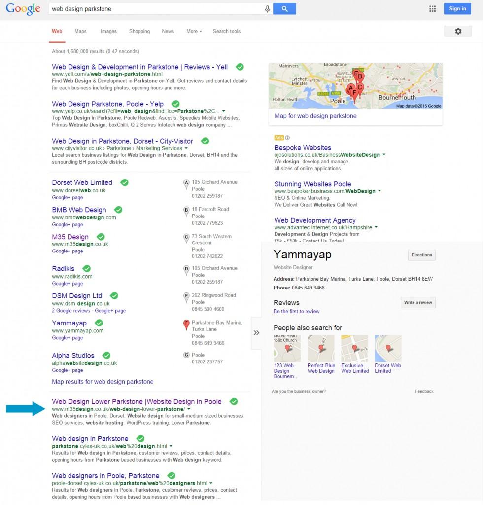 Search query: web design parkstone