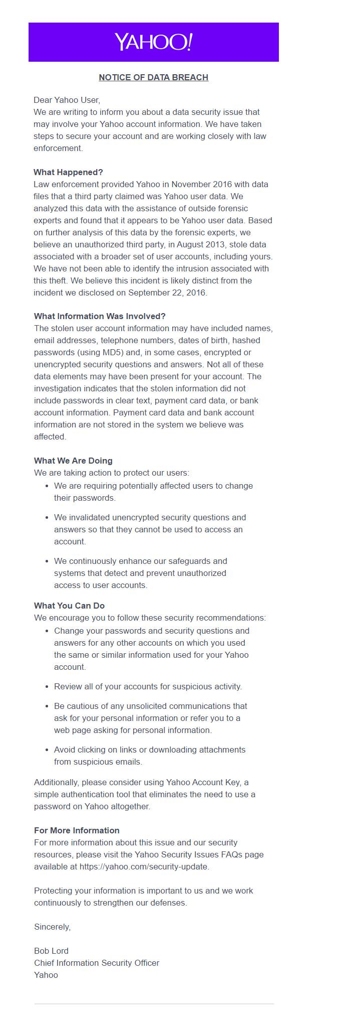 Yahoo email hack 2013