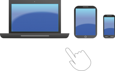 Picture showing mobile, tablet and desktop computer. Responsive web design, Poole.